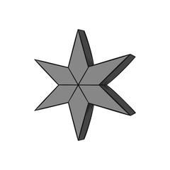 Heavenly six pointed star icon in black monochrome style isolated on white background. Figure symbol. Vector illustration
