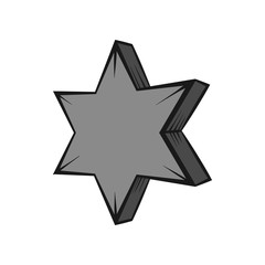 Geometric shape of six pointed star icon in black monochrome style isolated on white background. Figure symbol. Vector illustration