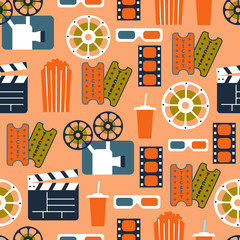 Seamless Pattern of Movie Elements and Cinema Icons