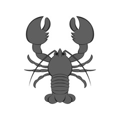 Lobster icon in black monochrome style isolated on white background. Food symbol. Vector illustration