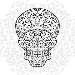 Hand drawn sugar skull. Dia de los Muertos vector illustration.