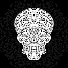 Hand drawn sugar skull on black. Dia de los Muertos vector illustration