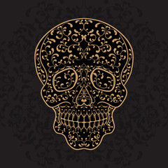 Hand drawn gold sugar skull. Dia de los Muertos vector illustration