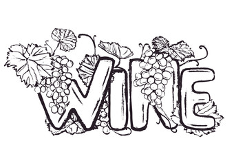 Ink hand drawn wine lettering