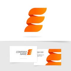 Abstract elegant orange letter E logo isolated on white background in fire style, concept of power energy sign, elegance geometric brand ribbon, creative trendy element design