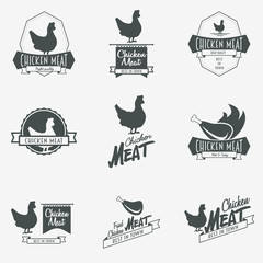 Set of chicken meat logo, symbol or label design template