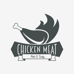 Fried chicken meat vector logo or label template isolated on white background