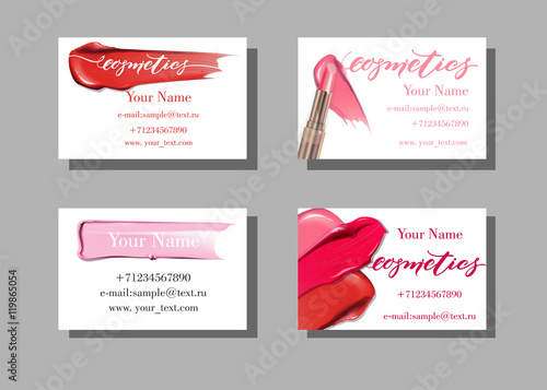 Makeup Artist Business Card Vector Template With Items Pattern Smears Lipstick Fashion