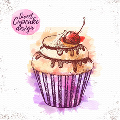Watercolor sweet cupcake vector illustaration