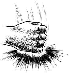 faust hand auf den tisch schlagend