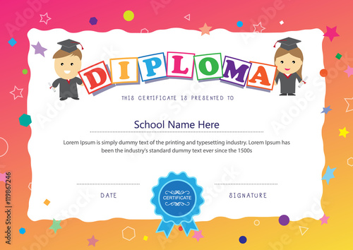 preschool kids certificate design elementary diploma school back