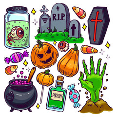 Set of Halloween attributes - 3