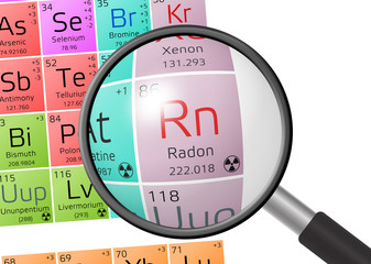 Element of Radon with magnifying glass