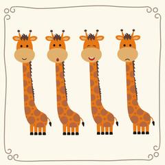 Vector set cute giraffe. Collection isolated funny giraffe. Emotion little giraffe.