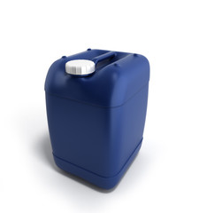 Blue plastic jerrycan 3d illustration on a white background