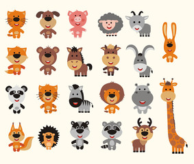 Big set isolated animals. Vector collection of animals in cartoon style. Funny animals: forest, asia, africa, farm, domestic