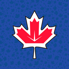 Maple leaf on background of World Cup Hockey