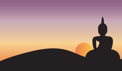 Sunset and Big Buddha on Mountain