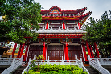 Historic red building in the Datong District of Taipei, Taiwan.