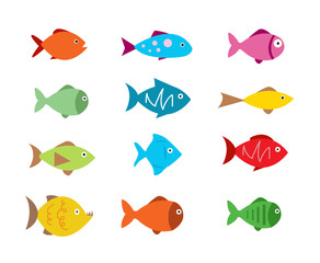 Fish Icons set vector illustration