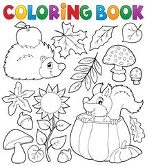 Coloring book autumn nature theme 1