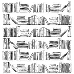Hand drawn books, vector illustration.