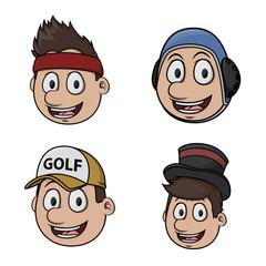 sport head illustration design colorful