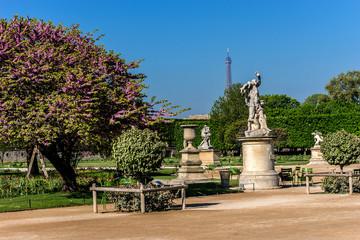 Ancient sculpture in Tuileries garden (1564). Paris, France.