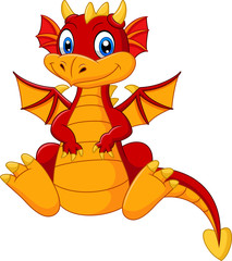 Cartoon baby red dragon