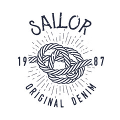 Retro nautical label with marine knot, sunburst and lettering. Vector illustration for label, t-shirt print, vintage badges and logo design.