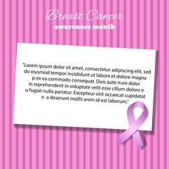 Awareness Pink Ribbon empty paper blank gift tag vector Illustra