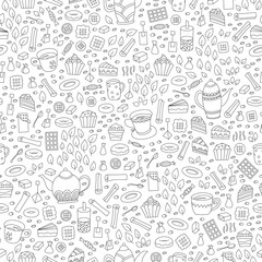 Seamless pattern with hand drawn sketchy tea theme