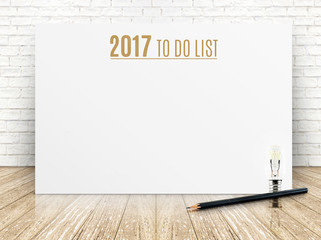 2017 To do list year text on white paper poster with black penci