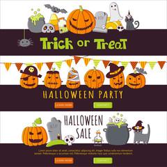 Vector vertical banners with halloween elements.