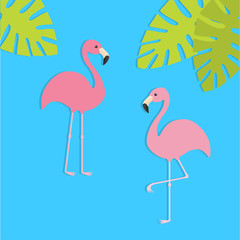 Two pink flamingo set. Exotic tropical bird. Zoo animal collection. Green palm leaves. Cute cartoon character. Decoration element. Flat design. Blue background.