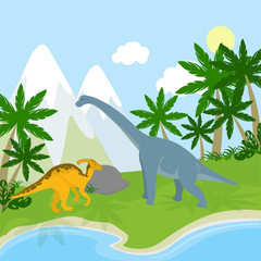 Dinosaurs in the landscape. Ocean, mountains and beach with palms and plants. Blue and orange dinosaurs. Prehistoric time.