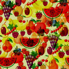 Flat fruits seamless pattern. Vector  Illustrations of watermelon, banana, cherry, apple, strawberries, raspberries, blackberries, orange, kiwi fruit, pear for web, print and textile