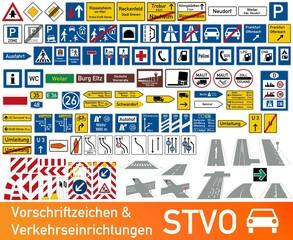Verkehrszeichen Vorschriftzeichen und Verkehrseinrichtungen STVO Sammlung icon Set Vektor / german traffic road sign icon vector collection set