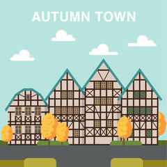 Autumn town illustration with houses across the street and orang