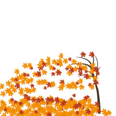 Maple tree in the wind, autumn. Fallen red and yellow leaves. illustration