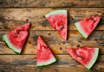 ripe red watermelon slices
