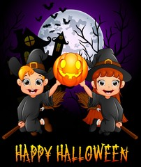 Little girl witch and little boy costume flying while holding pumpkin