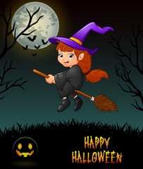 Cute little witch flying riding on  broom in night background