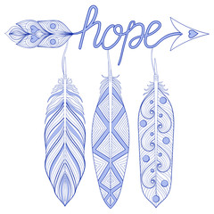 Blue Bohemian Arrow, Hope Amulet with henna feathers. Decorative