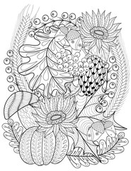 Vector autumn patterned background with pumpkin, sunflower, leav