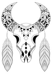 Zentangle stylized Animal Skull with boho feathers. Hand drawn e