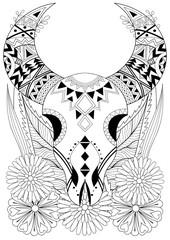 Zentangle stylized Animal Skull with flowers. Hand drawn ethnic