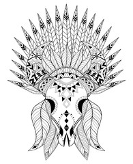 Zentangle stylized Animal Skull with warbonnet. Hand drawn ethni