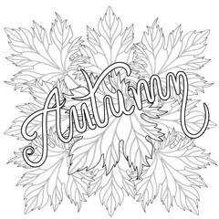 Zentangle stylized Autumn typographic background with maple leav