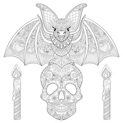 Zentangle stylized Bat seating on sugar Skull with candles for H